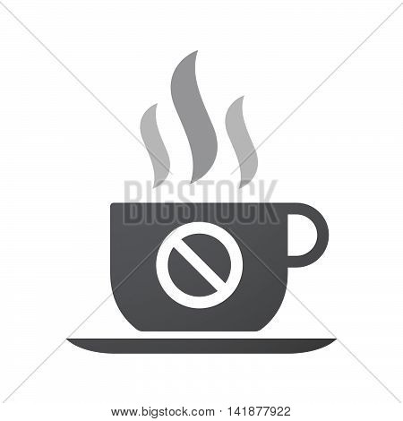 Isolated Coffee Cup Icon With  A Forbidden Sign