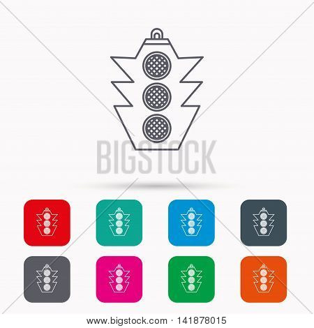 Traffic light icon. Safety direction regulate sign. Linear icons in squares on white background. Flat web symbols. Vector