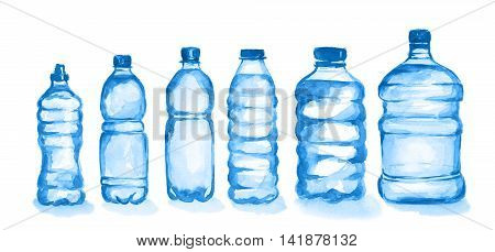 Watercolor plastic bottles set. Blue bottles with waterstanding on white background. Fresh healthy beverage.