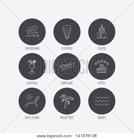 Cruise, waves and cocktail icons. Hotel, palm tree and surfboard linear signs. Airplane, deck chair and flippers flat line icons. Linear icons in circle buttons. Flat web symbols. Vector