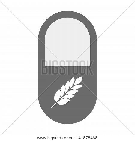 Isolated Pill Icon With  A Wheat Plant Icon