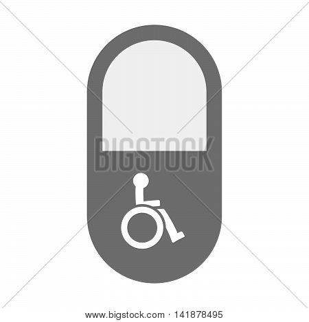 Isolated Pill Icon With  A Human Figure In A Wheelchair Icon