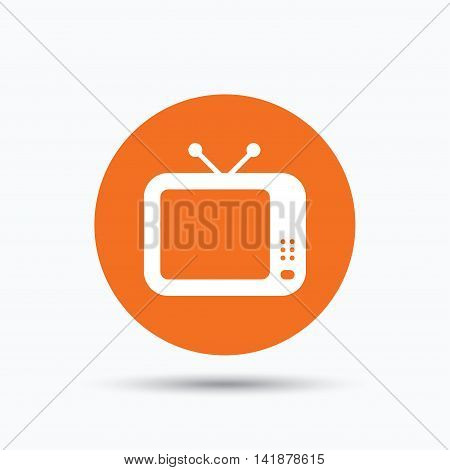 TV icon. Retro television symbol. Orange circle button with flat web icon. Vector