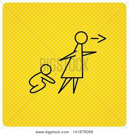 Unattended baby icon. Babysitting care sign. Do not leave your child alone symbol. Linear icon on orange background. Vector