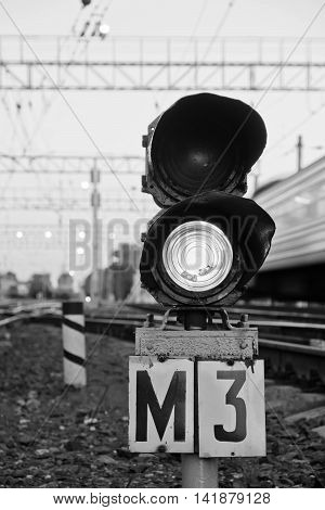 Semaphore On Railway In Summer Time Black And White