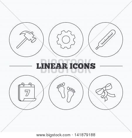 Footprint, bow and thermometer icons. Hammer linear sign. Flat cogwheel and calendar symbols. Linear icons in circle buttons. Vector
