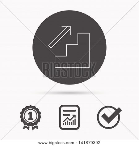 Upstairs icon. Direction arrow sign. Report document, winner award and tick. Round circle button with icon. Vector