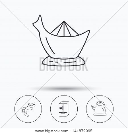 Hair-dryer, teapot and juicer icons. Refrigerator fridge linear sign. Linear icons in circle buttons. Flat web symbols. Vector