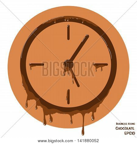 Vector business icon of clock. Clock object made from chocolate. Icon with melting chocolate effect.