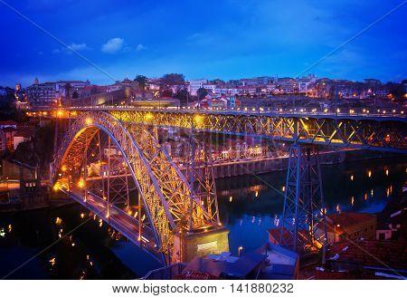 bridge of Dom Luis I in old Porto, Portugal, toned