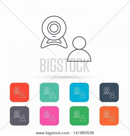 Video chat icon. Webcam chatting sign. Web conference symbol. Linear icons in squares on white background. Flat web symbols. Vector