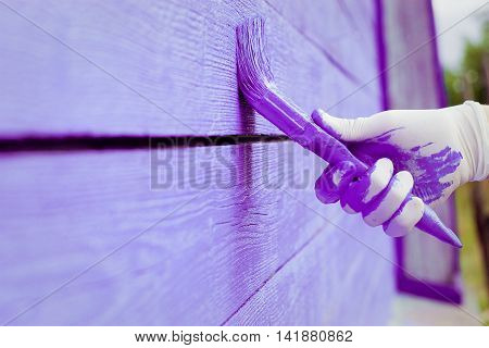Hand Painting Violet Wooden Wall