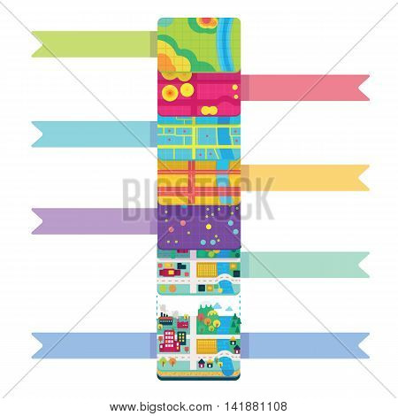 Vector Illustration of GIS Spatial Data Layers Concept for Info Graphic, Vertical Data Organization, Geographic Information System