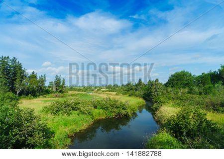 Stream or small river running through rural Prince Edward Island, Canada.