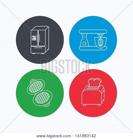 American style refrigerator, mixer and toaster icons. Waffle-iron linear sign. Linear icons on colored buttons. Flat web symbols. Vector