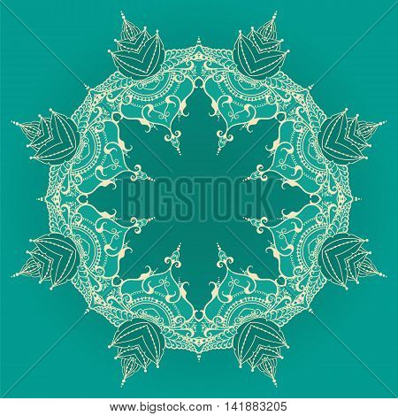 Round pattern mandala with lotus flowers. Can be used for backgrounds business style tattoo templates cards design or else. Vector illustration.