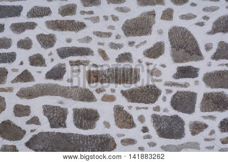 Detail of a stone wall of an old farmhouse - Copy Space