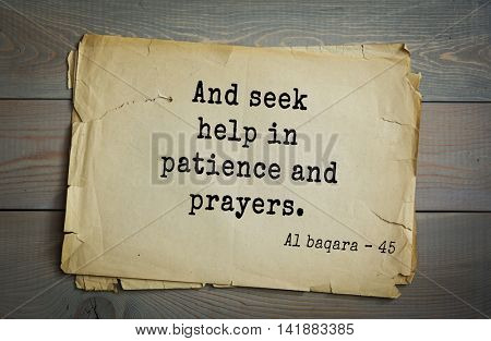 Islamic Quran Quotes.And seek help in patience and prayers.