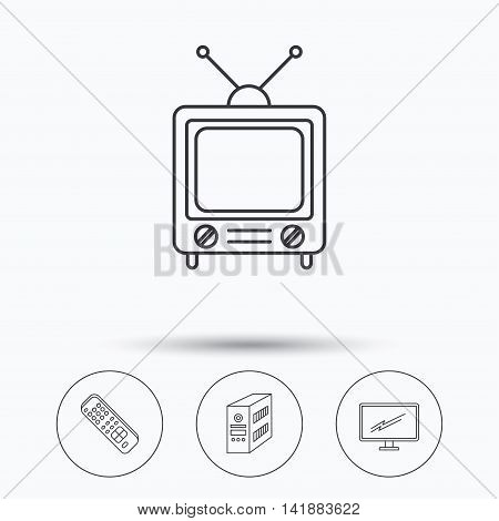 Retro TV, PC case and monitor icons. TV remote linear sign. Linear icons in circle buttons. Flat web symbols. Vector