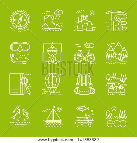 Eco tourism icons set on green background. Collection of line style design element. Can be used for web page banner infographics