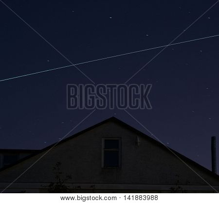 The ISS crossing by over the evening sky just after dawn in the Ukraine.August 8 ,2016 in Kiev, Ukraine