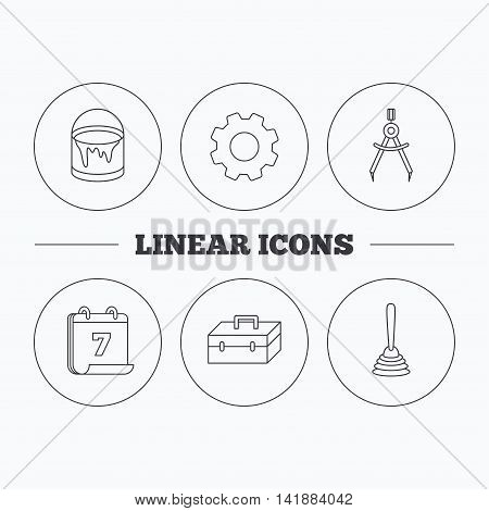Measurement, plunger and repair toolbox icons. Bucket of paint linear sign. Flat cogwheel and calendar symbols. Linear icons in circle buttons. Vector