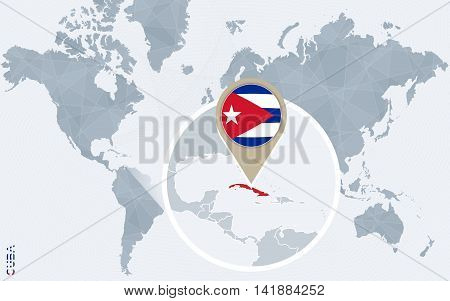 Abstract Blue World Map With Magnified Cuba.