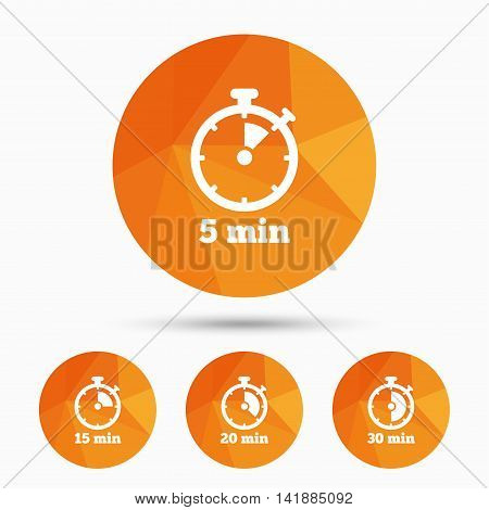 Timer icons. 5, 15, 20 and 30 minutes stopwatch symbols. Triangular low poly buttons with shadow. Vector