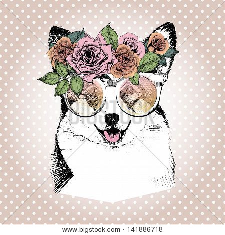 Vecotr portrait of dog wearing the floral wreath and sunglasses. Hand drawn vintage trendy illustration. Wesh corgi pembroke breed. Isolated on polka dot and rose gold background.