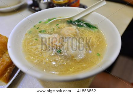 Shrimp Dumpling Noodle Chinese Food from Hong Kong (Blurred)