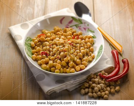 chickpea with hot chili pepper, selective; focus; selective focus