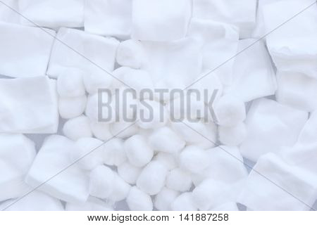 Closeup group of cotton wool texture background.