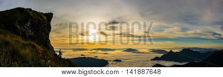 Top hill of thailand View Panorama of Phu Chi Fa at Chiang rai Thailand /Mountains landscape from mountains