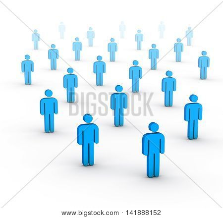 large group of people on white 3D illustration