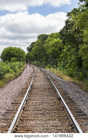 A railroad track by the woods during summer.