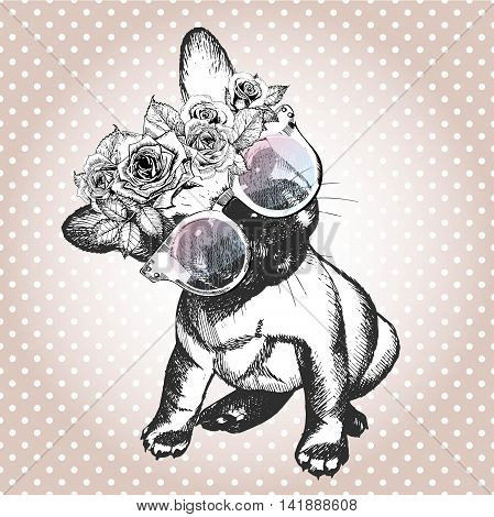 Vecotr portrait of dog wearing the floral wreath and sunglasses. Hand drawn vintage trendy illustration. French bulldog breed. Isolated on polka dot and rose gold background.