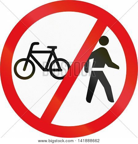 Road Sign Used In The African Country Of Botswana - Cyclists And Pedestrians Prohibited