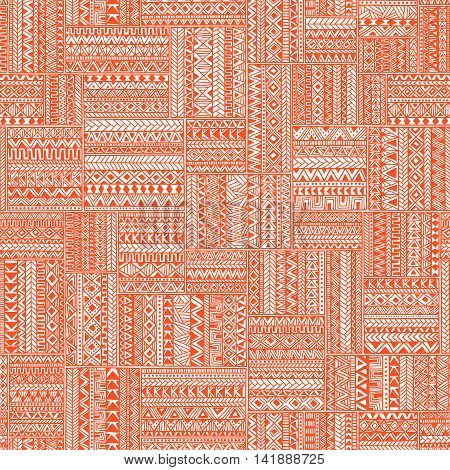 Seamless geometric pattern in patchwork style. Square patches of mosaic. Ornament painted by hand. Ethnic and tribal elements. White, orange and coral colors. Vector illustration.