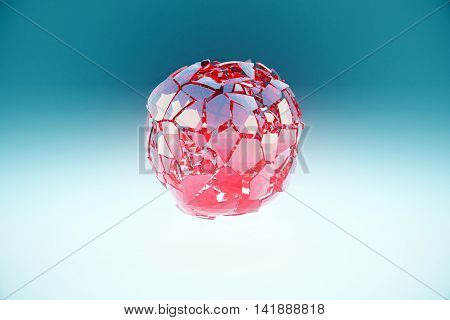 Broken red glass sphere on light blue background. 3D Rendering