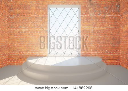 Abstract red brick interior with pedestal and rhombus framed window with daylight. 3D Rendering