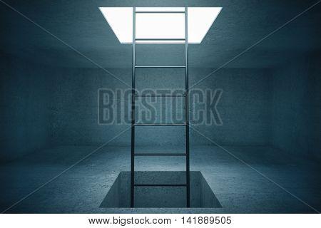 Escape ladder in concrete room. 3D Rendering