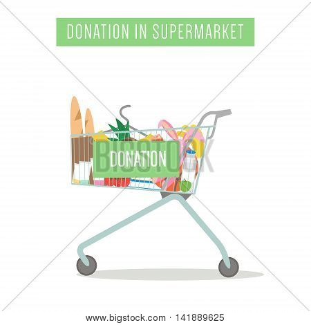 Cart with donation in supermarket isolated on white. Vector Illustration.