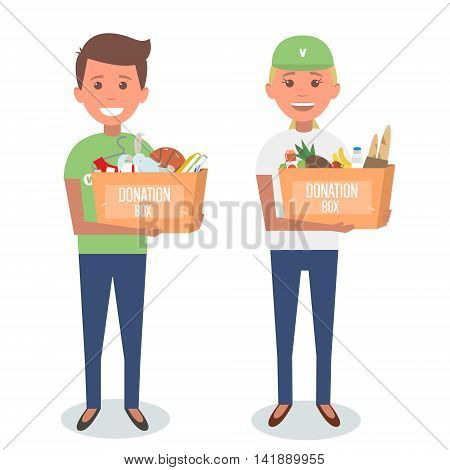 Volunteers with donation boxes isolated on white. Vector Illustration.