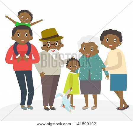 Happy african family portrait. Father and mother son and daughter grandparents in one picture together. African Family isolated on white. 3 generations together. Vector illustration.