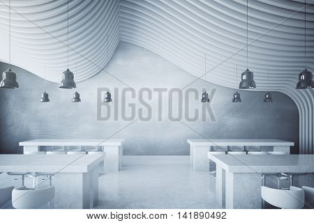 Concrete dining area with lamps and abstract round patterned ceiling. 3D Rendering
