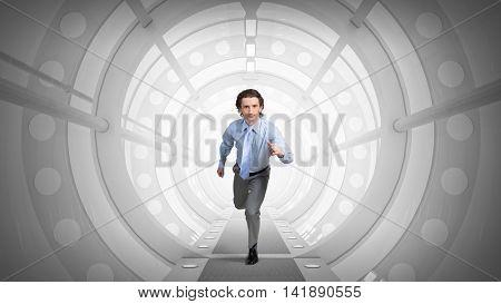 Man run in virtual room  . Mixed media