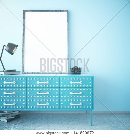 Blue cabinet with blank picture frame lamp book and camera in room with concrete floor and white brick wall. Mock up 3D Rendering