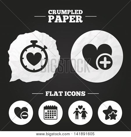 Crumpled paper speech bubble. Valentine day love icons. Love heart timer symbol. Couple lovers sign. Add new love relationship. Paper button. Vector