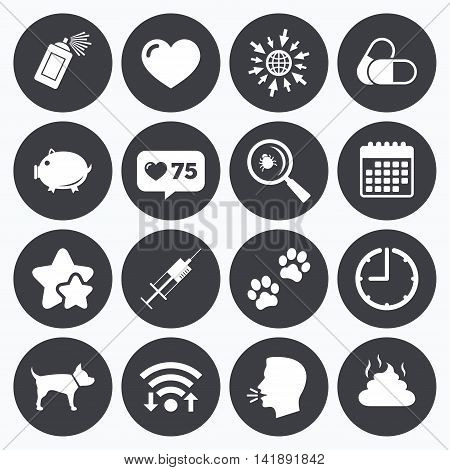 Calendar, wifi and clock symbols. Like counter, stars symbols. Veterinary, pets icons. Dog paws, syringe and magnifier signs. Pills, heart and feces symbols. Talking head, go to web symbols. Vector