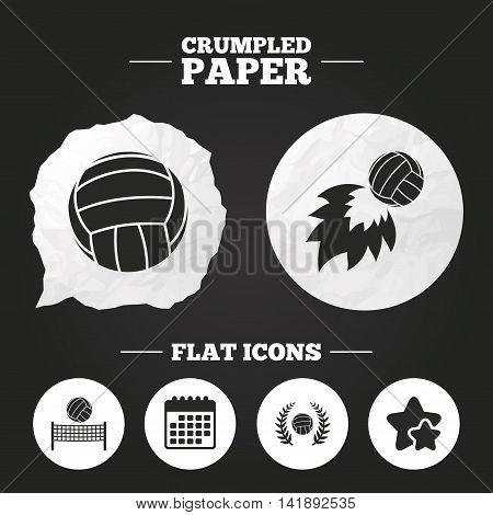 Crumpled paper speech bubble. Volleyball and net icons. Winner award laurel wreath symbols. Fireball and beach sport symbol. Paper button. Vector